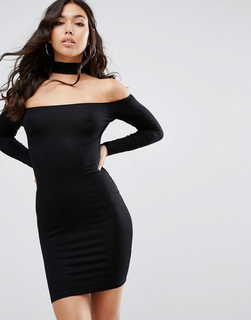 0e9b20b21269 ASOS+Long+Sleeve+Off+The+Shoulder+Bardot+Mini+Bodycon+Dress +With+Choker+Collar