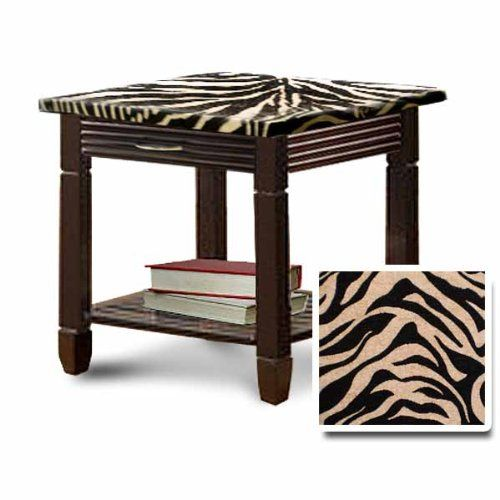 Genial Zebra Print Upholstered Cappuccino / Espresso Finish End Table