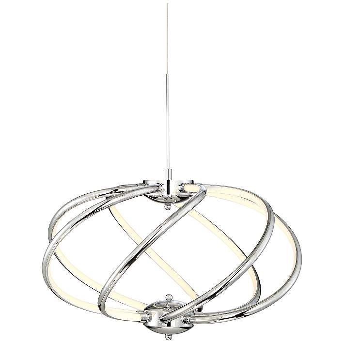 Possini euro galaxy 19 wide chrome led pendant light 9c689 lamps plus