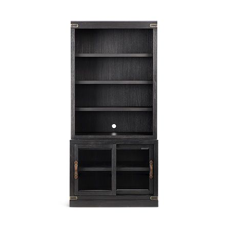 Tremont Modular 40� Bookcase Top and Cabinet Base in Dry Branch Black
