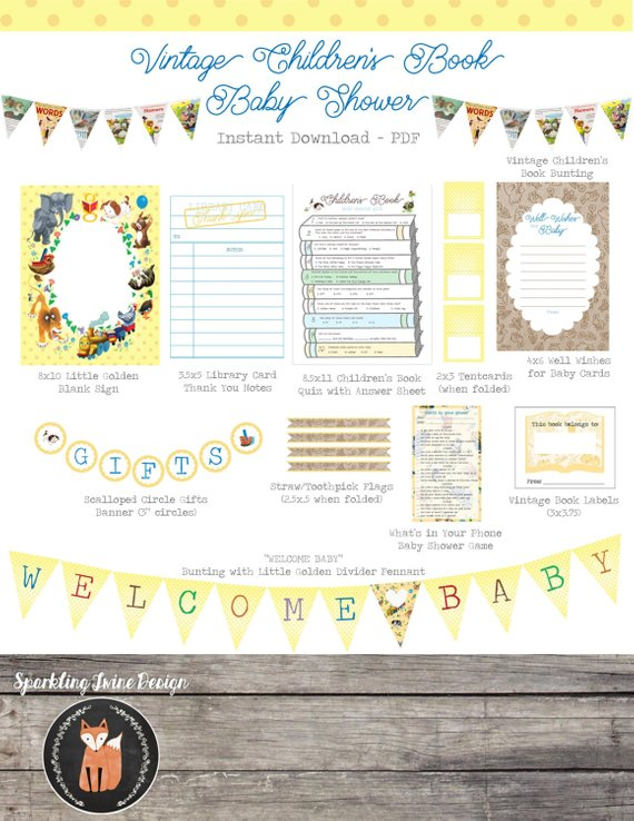 instant download printable pdf vintage children s book party pack rh pinterest com