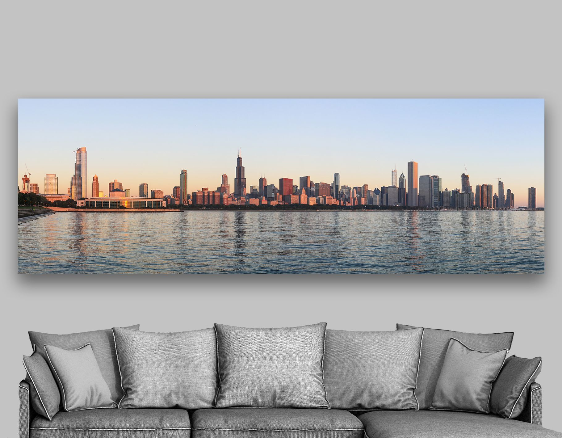 Chicago Skyline Canvas Wall Art 4 Panel Split Extra Large Etsy Chicago Print Extra Large Wall Art Canvas Wall Art