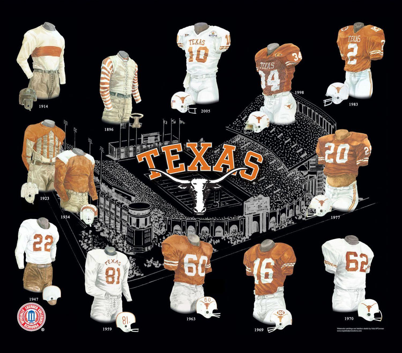 University of Texas Longhorns Football Uniform and Team