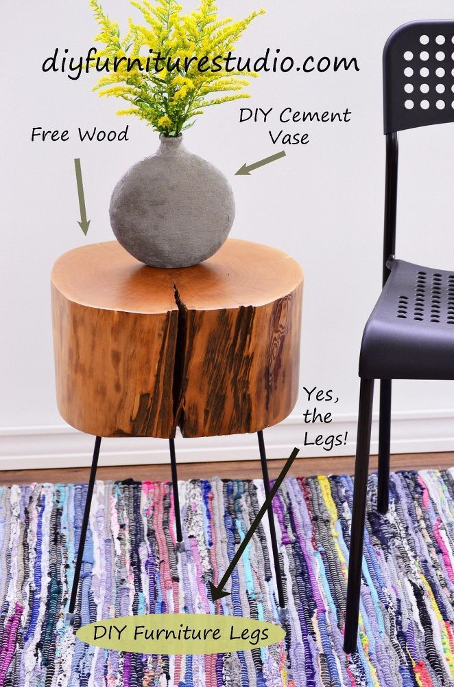 how to make a tree stump side table with diy legs a reciclar rh pinterest com