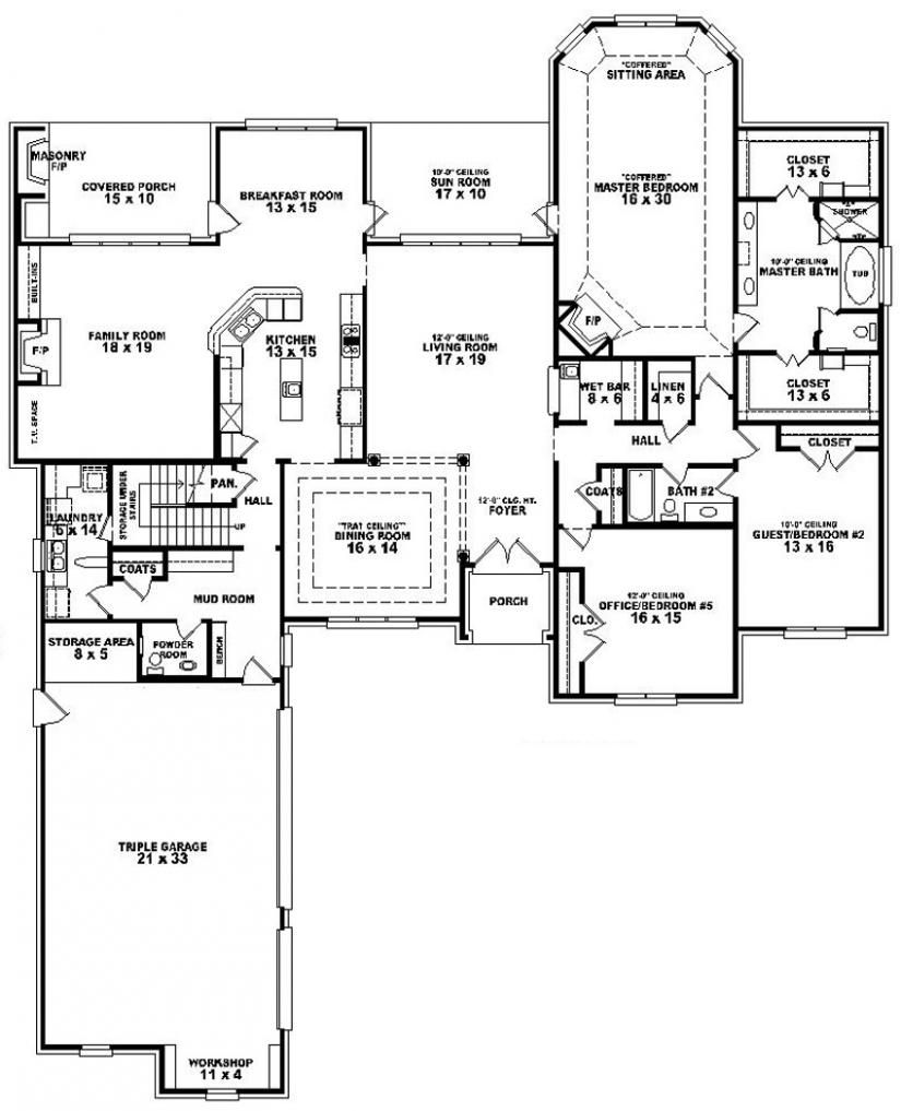 654275 3 bedroom 3 5 bath house plan house plans for Bedroom floor plans