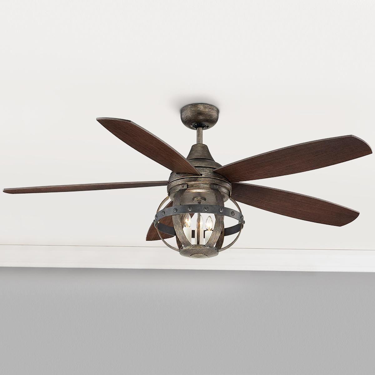 52 Indoor Outdoor Rivet Globe Cage Ceiling Fan Ceiling Fan