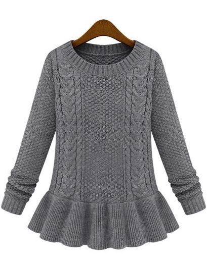 Grey Long Sleeve Cable Knit Ruffle Sweater: cute with skinny's and a long necklace!