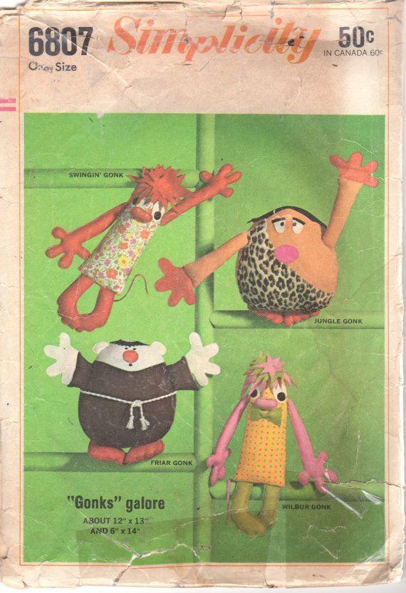Simplicity 6807 1960s Set of GONKS Pattern Dolls Swingin Jungle ...