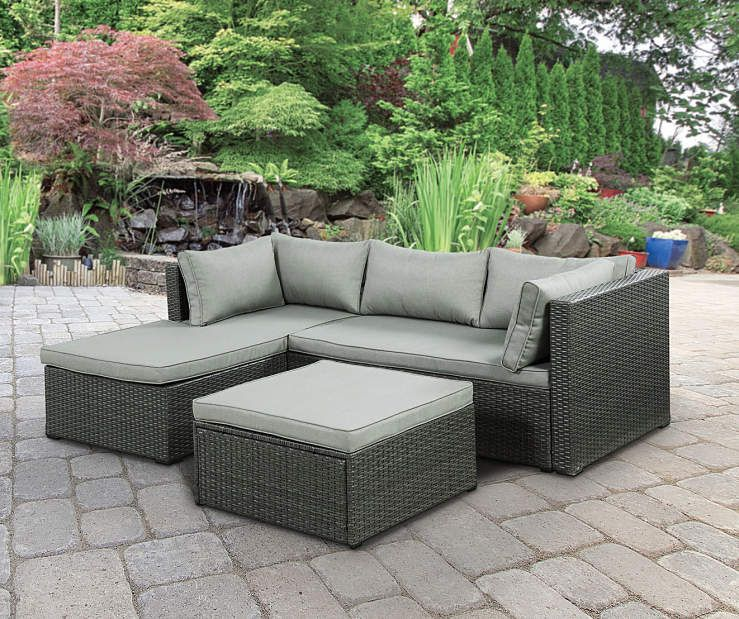 Brook 3Piece All Weather Wicker Sectional with Ottoman