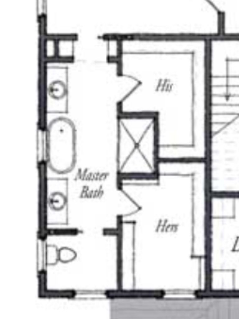 Master bath floor plan except i see no need for his her for Master bathroom design layout