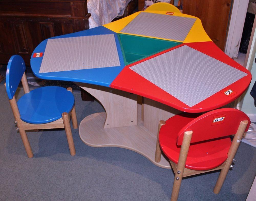 Genuine lego kids wood table & chairs preschool play duplo blocks ...