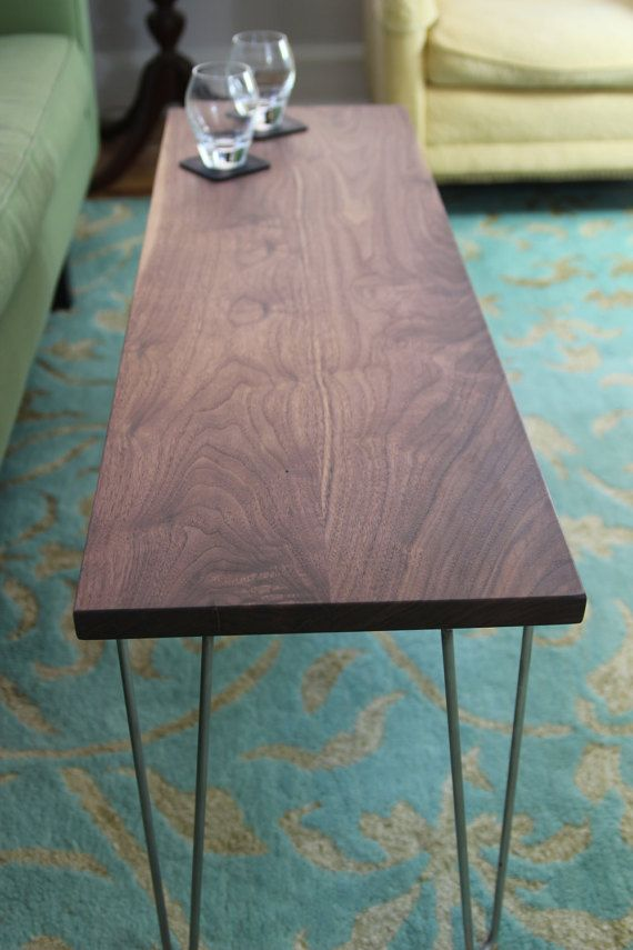 Modern Narrow Coffee Table In Solid Walnut Bench With