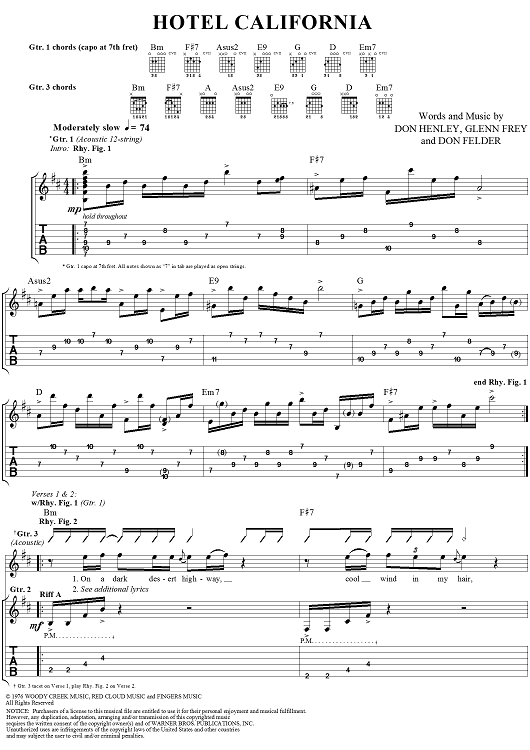 TABLATURE EAGLES BAND SCORE EAGLES GUITAR TAB EAGLES BASS GUITAR TAB