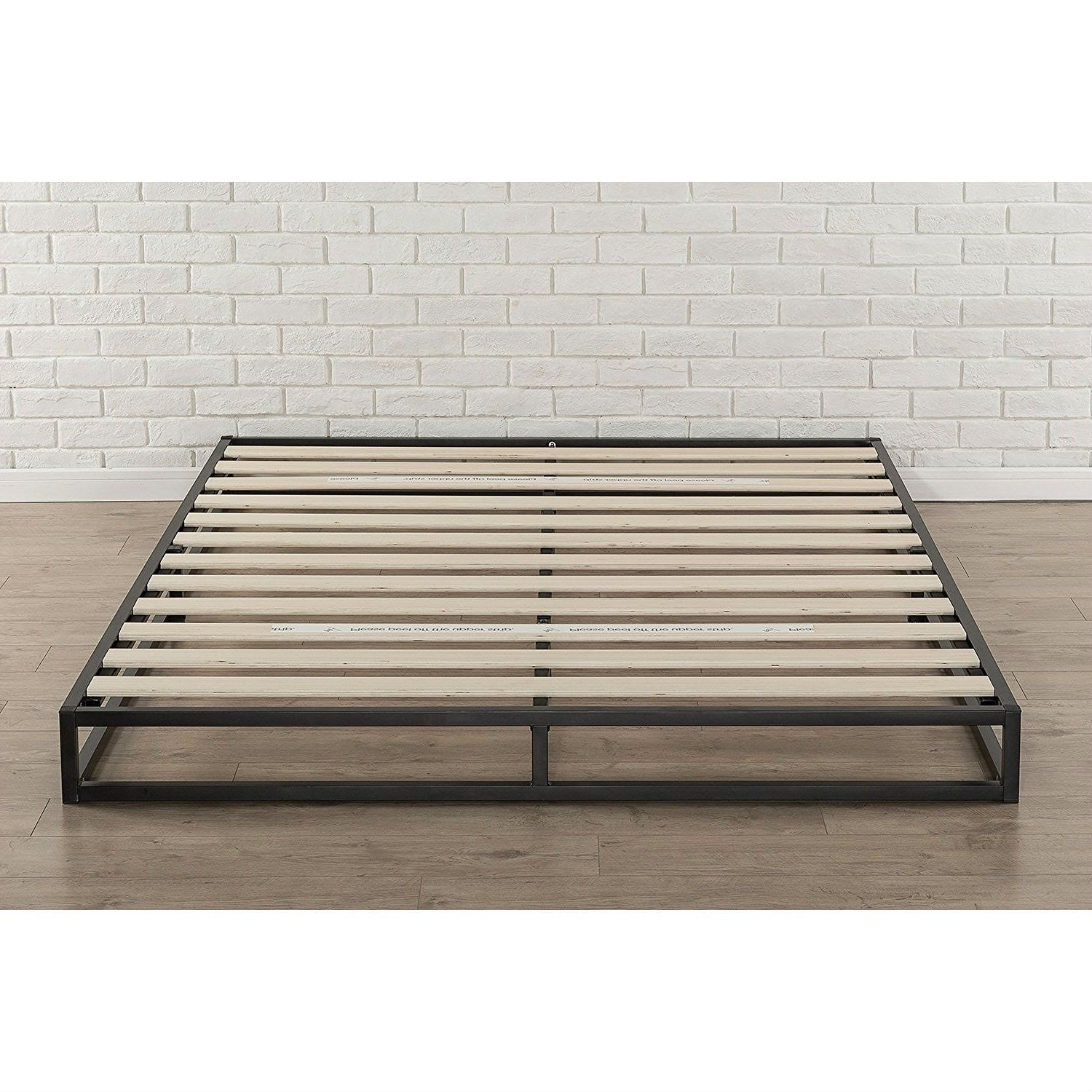 Full Size 6 Inch Low Profile Metal Platform Bed Frame With Wooden