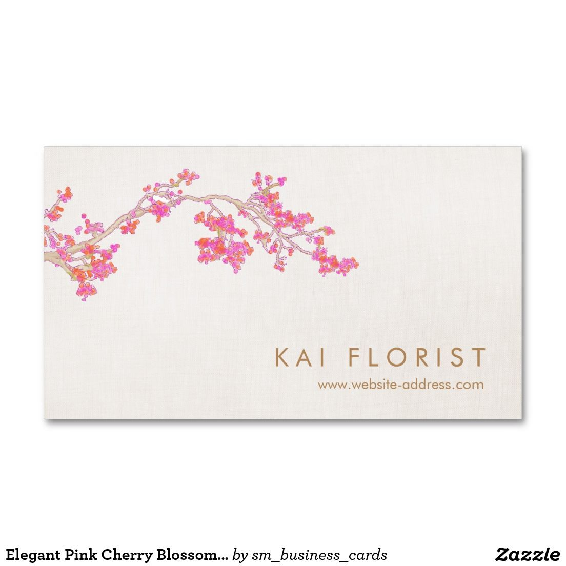 Elegant Pink Cherry Blossoms Floral Flower Business Card | Floral ...