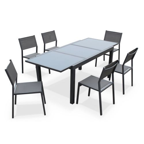 Extendible garden table 150210cm in aluminium and grey textilene extendible garden table 150210cm in aluminium and grey textilene garden furniture sets garden furniture and furniture sets workwithnaturefo