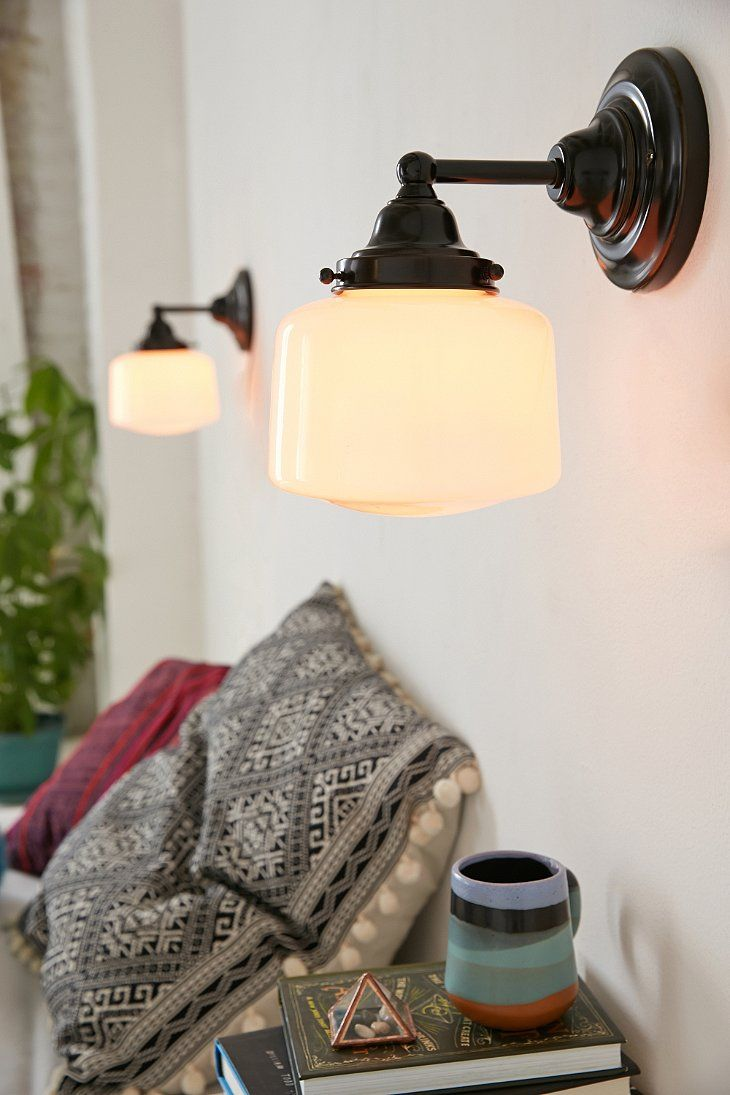 schoolhouse sconce urban outfitters bathroom inspiration rh pinterest com