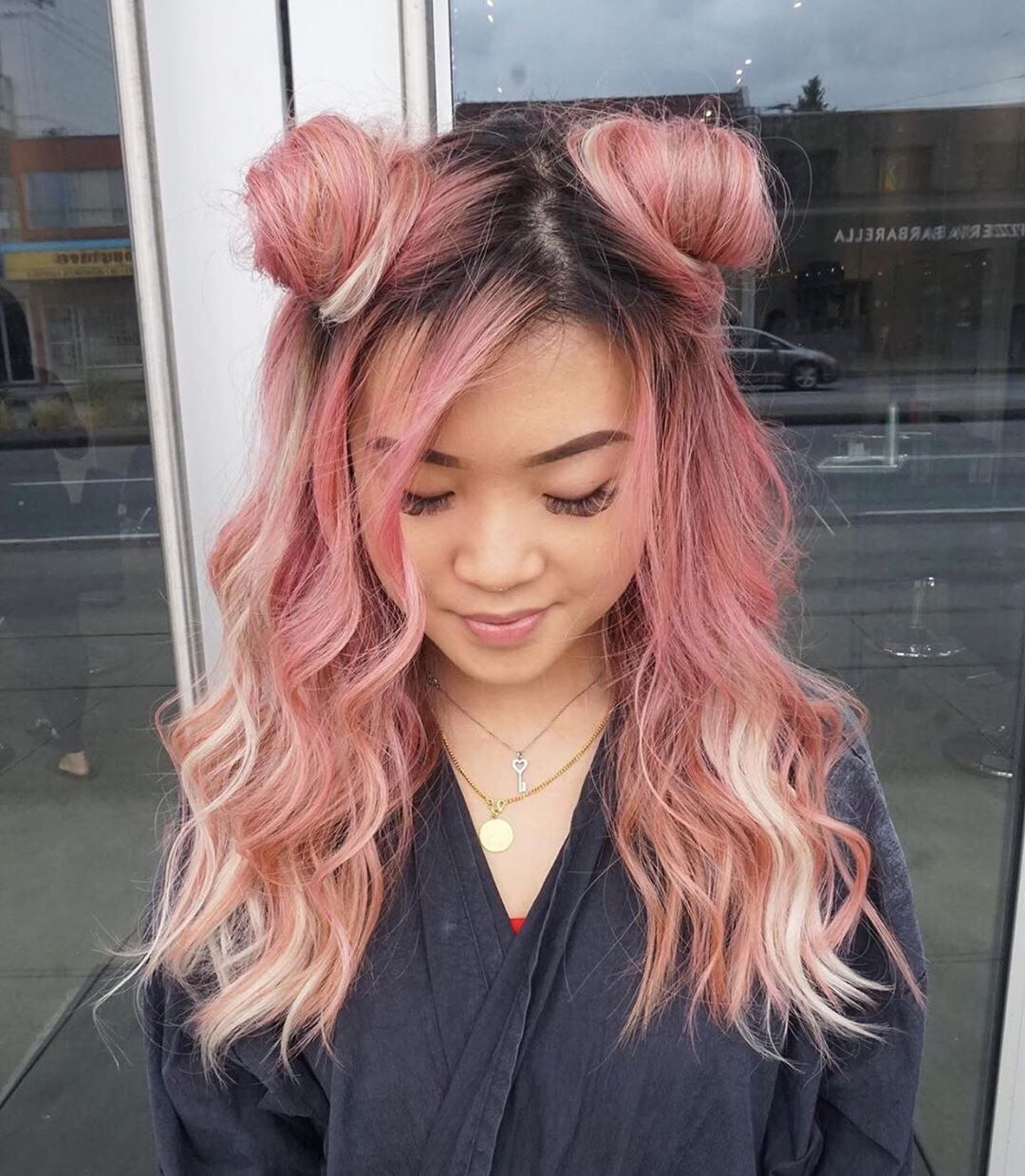 Overtone On Instagram Space Buns Lo Rean Image Description Person With Two Pastel Pink And Rose Go Half And Half Hair Rose Gold Hair Hair Color Pastel