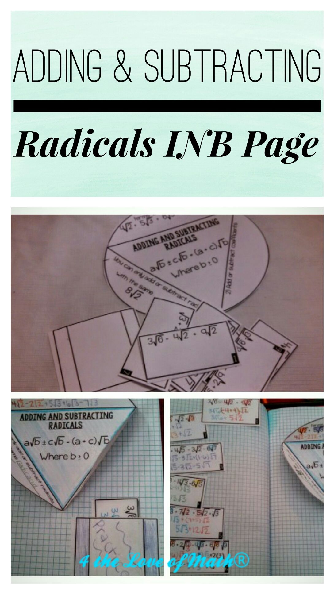 Adding And Subtracting Radicals Square Roots Interactive Notebook Page Adding And Subtracting Interactive Notebooks Math Interactive Notebook