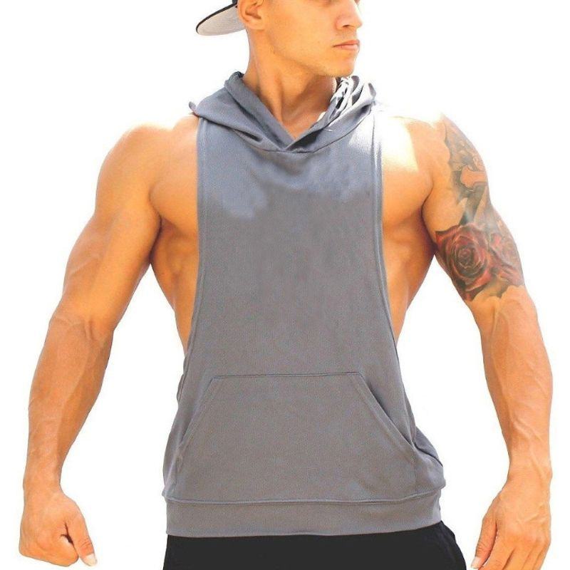 26b796b3af09d Plain Men Tank Top Blank Bodybuilding Stringer Hoodie Sleeveless Shirt  Cotton Shirt Gymshark Gold Regatas Masculina