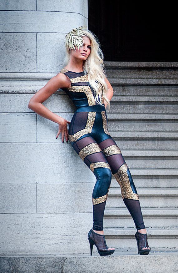 Futuristic Spandex Catsuit, Sexy Holographic Gold, Black & Sheer Jumpsuit,  Unique Pop Star Stage Outfit, Heavy Metal Clothing, by LENA QUIST