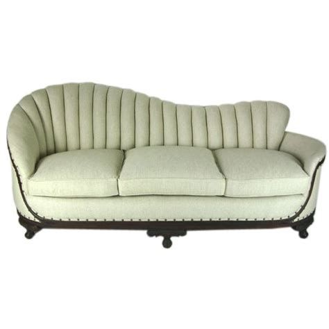 art deco linen sofa with carved wood base at 1stdibs everything rh pinterest com