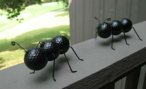 Cute table décor- Every picnic expects to have some ants. Ant Crafted Out of Recycled Golf Balls