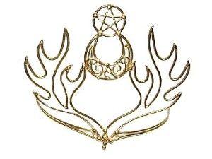 Bronze Circlet - Pentacle Celtic Moon and Horns pendant