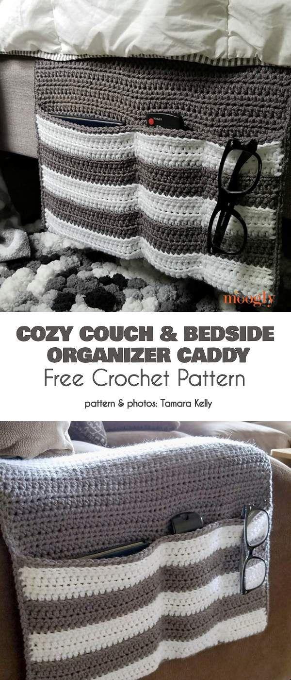 Cozy Couch & Bedside Organizer Free Crochet Pattern #crochetprojects