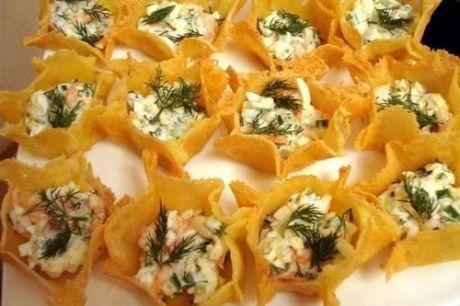 Сырные тарталетки с креветками и огурцомИНГРЕДИЕНТЫ:для ...