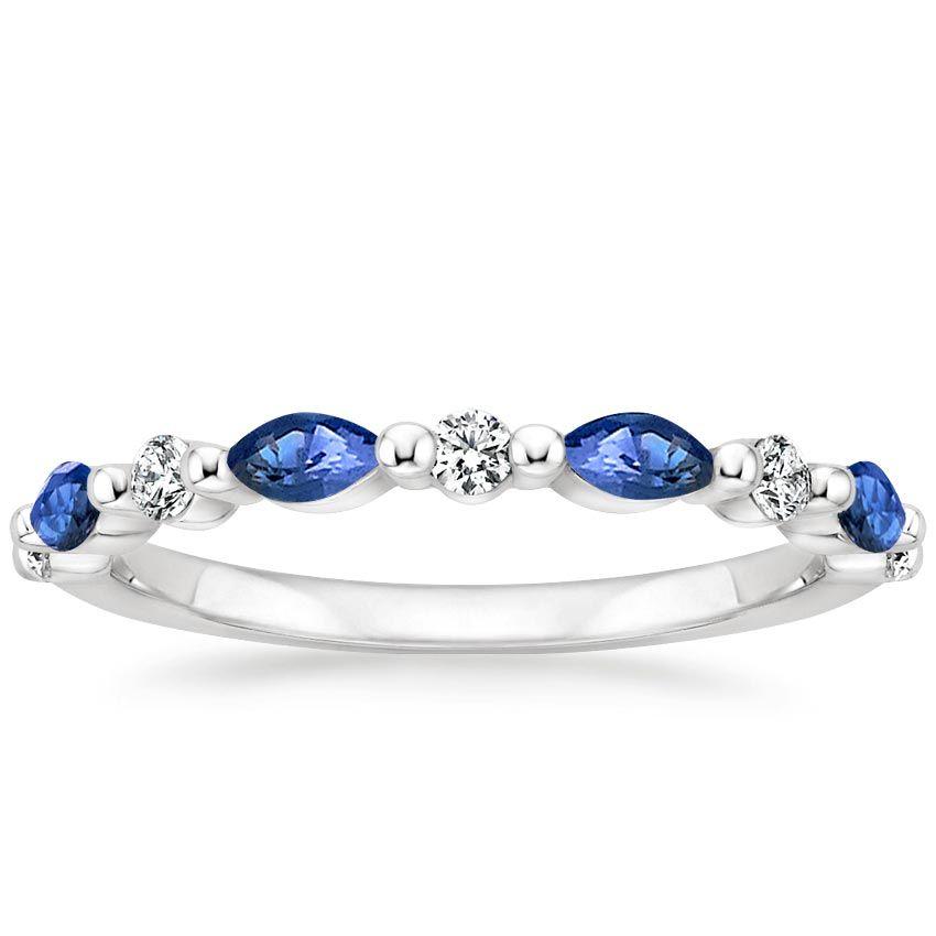 18k White Gold Versailles Sapphire And Diamond Ring 1 8 Ct Tw Platinum Wedding Rings Unique Diamond Rings Matching Wedding Rings