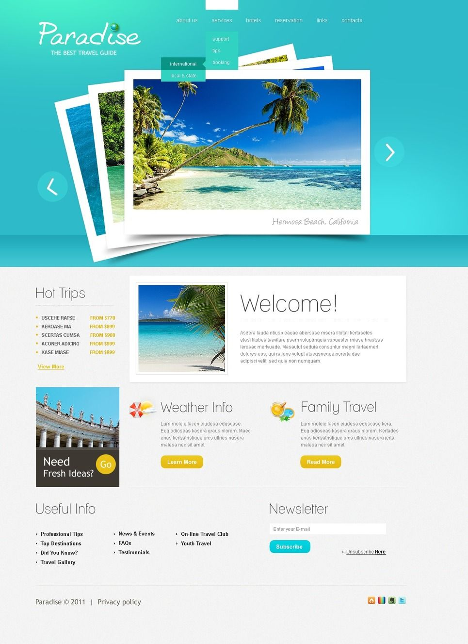 Travel Guide PSD Template #Guide #Travel #Template
