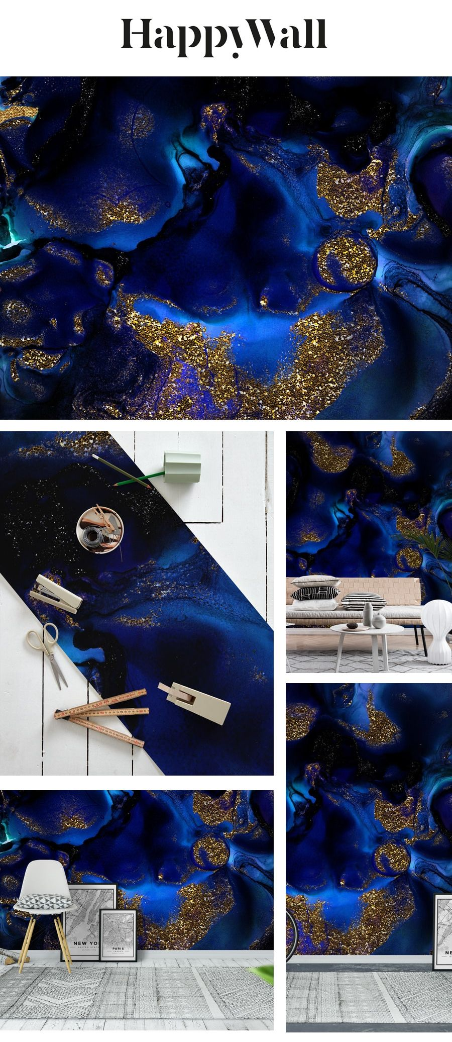 Indigo Blue Marble and Gold Glitter Wall Mural / Wallpaper Surface