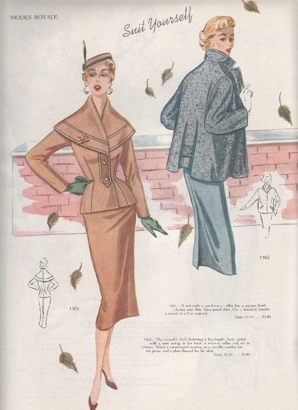 1954/55 Modes Royale catalog - oh that brown coat! | Vintage 1950s ...