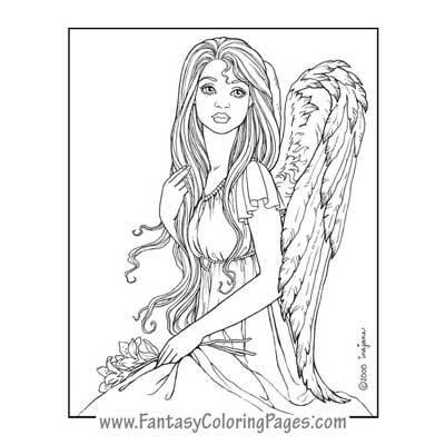 Cassiel By Ina Jane Angel Fantasy Myth Mythical Legend Wings Warrior Valkyrie Anjos Goth Gothic Coloring Pages Colouring Adult Detailed Advanced Printable