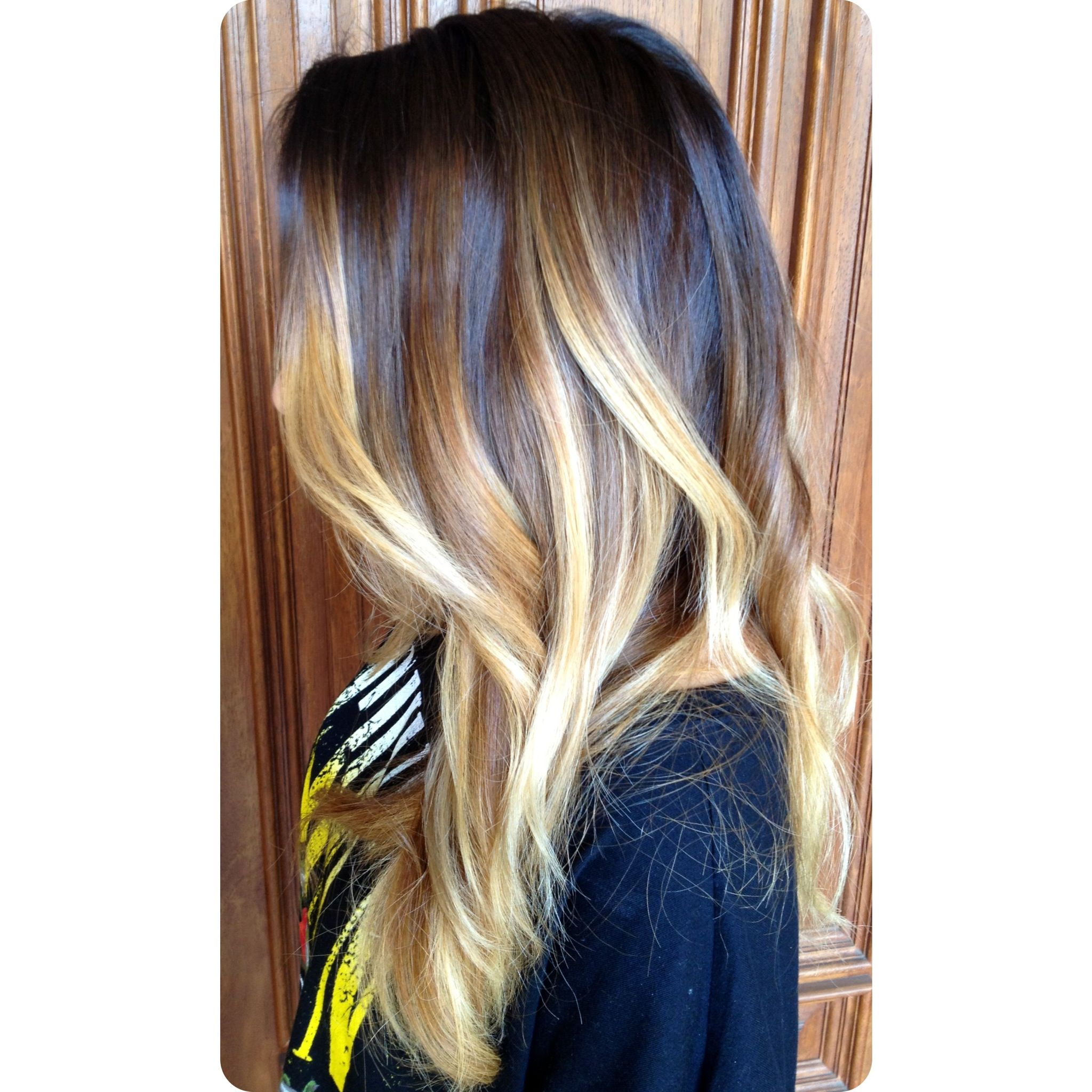Dramatic Brunette To Blonde Balayage Ombre Color And Curly Layers Styledbykate Instagram
