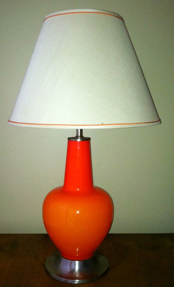 Atomic Orange Glass Lighted Base Mid Century Modern By Gotretro 145 00 Glass Lighting Glass Shades Of Orange