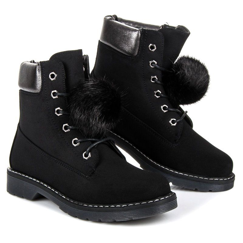 Bestelle Traperki Z Odpinanym Pomponem Czarne Combat Boots Boots Shoes