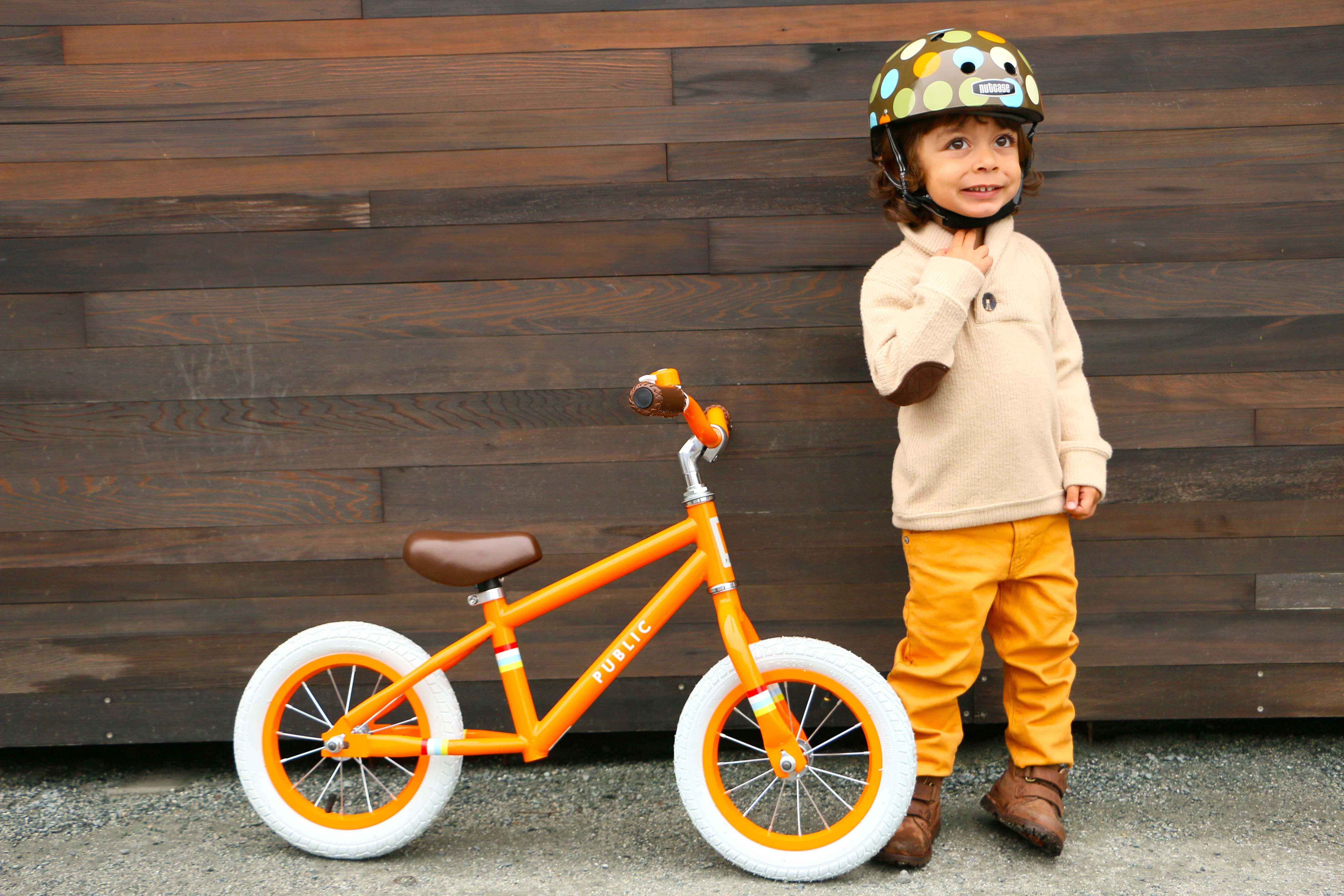 Public Mini Balance Bike In Orange Little Nutty Polka Dot Helmet