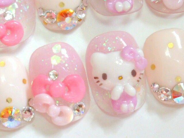 Japanese nail art Hello kitty bow princess. $21.00, via Etsy ...
