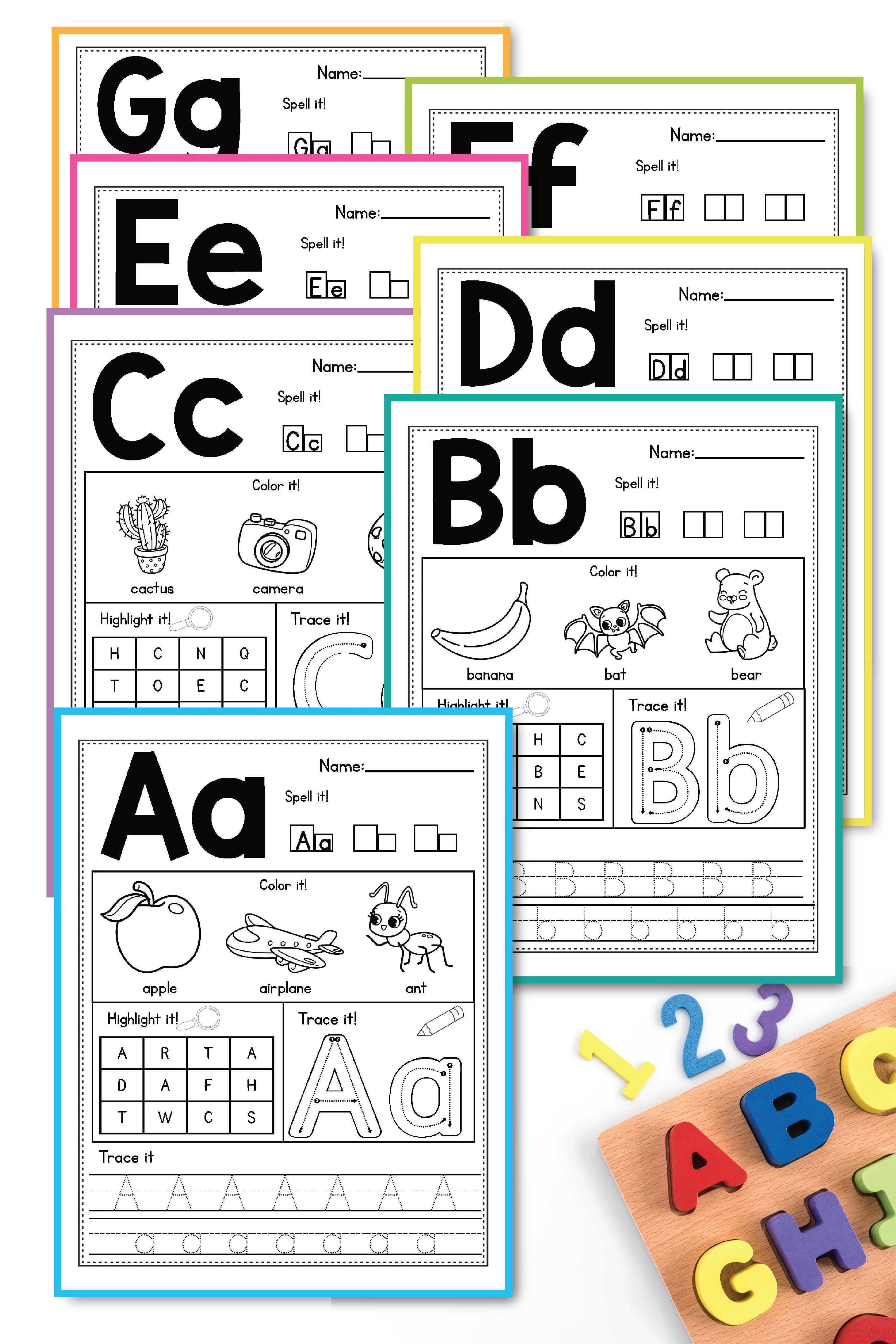 Alphabet Worksheets AZ Beginning Sounds Activities