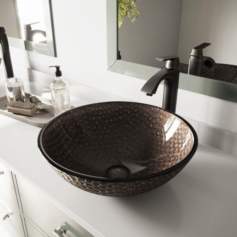 vigo copper shield glass vessel bathroom sink glassvesselsinks rh pinterest com