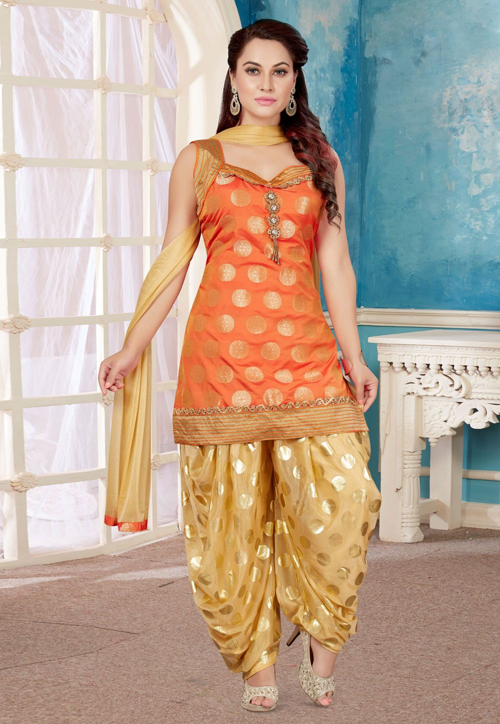 Orange Brocade Readymade Punjabi Suit 156023 Designer Dresses Indian Fashion Indian Designer Outfits