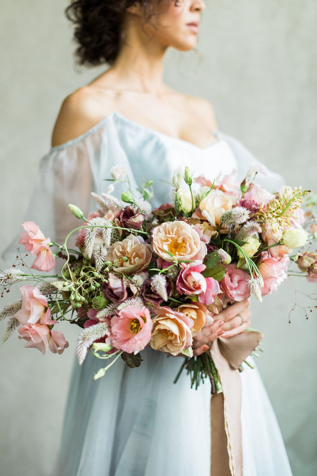 cloudy day wedding inspiration with a hand painted bridal gown rh pinterest com