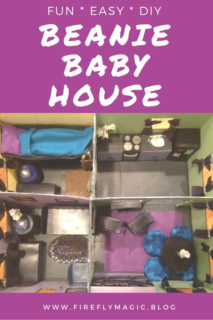 91f24a4749b A fun DIY dollhouse for Beanie babies that you can make out of a cardboard  box and recycled materials! A project for crafty moms to do by themselves  or with ...
