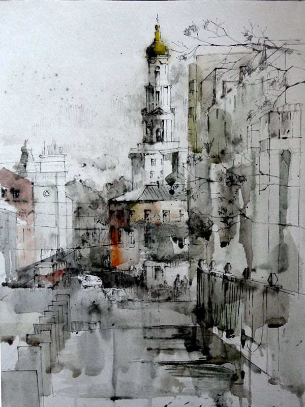 Watercolor City Landscape Kharkiv Universitetskaya