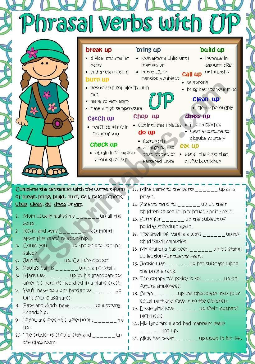 Phrasal Verbs With Up B W Key Included Esl Worksheet By Mada 1 Verb Grammar Worksheets English Language Learning [ 1169 x 821 Pixel ]