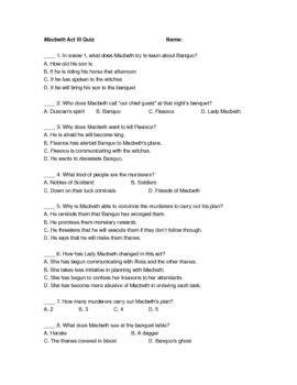 macbeth act iii quiz macbeth teaching resources pinterest rh pinterest com Short-Answer Examples Question and Answer Format