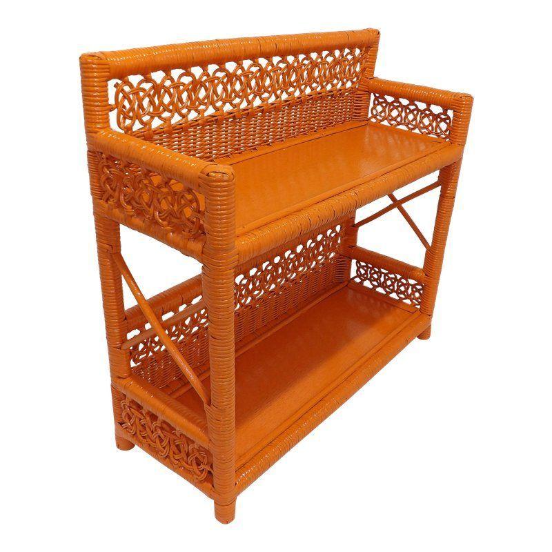 mid century modern orange wicker bathroom shelf wickersofatexture rh pinterest com