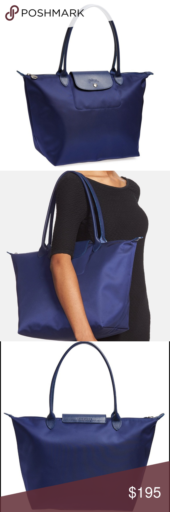 """Longchamp Large Le Pliage Neo' Nylon Tote (new) Brand new with tags color is navy blue. Bought at gilt.com as final sale so no returns or exchanges. Lightly textured leather borders a sleek, durable nylon tote that folds flat when not in use, making it perfect for travel. Top zip with logo-stamped snap-flap tab closure. Interior cell-phone pocket. Water-resistant lining. Nylon with leather trim. By Longchamp; imported. Handbags. Size info: 12 ¼""""W x 11 ¾""""H x 7 ½""""D. (Interior capacity: large.)…"""